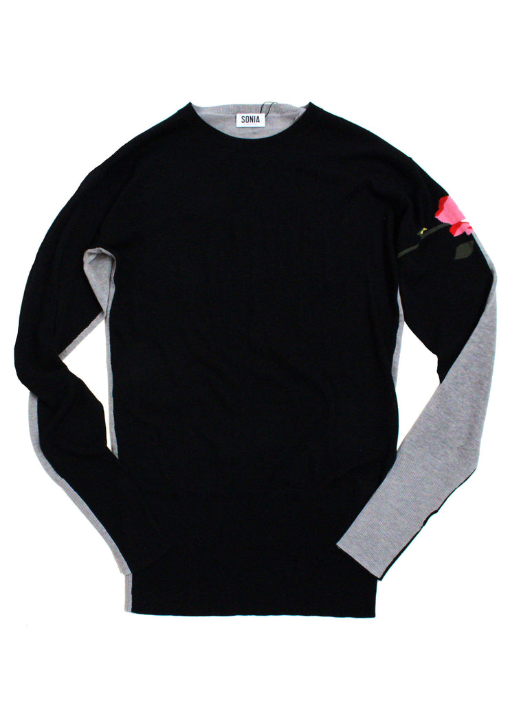 Two-Tone Sweater with Floral Intarsia