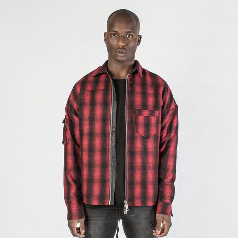 The Zip Flannel  in Red