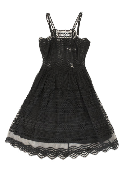 Grid Mesh Track Dress in Black