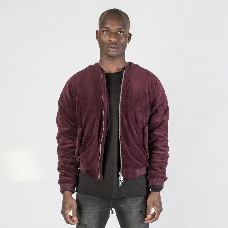 The Velour Bomber in Red Wine