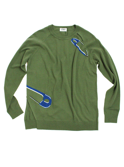 Safety Pin Intarsia Sweater