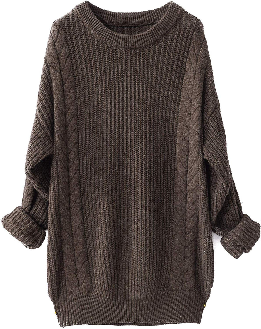 Women's Cashmere Oversized Loose Knitted Crew Neck Long Sleeve Winter Warm Wool Pullover