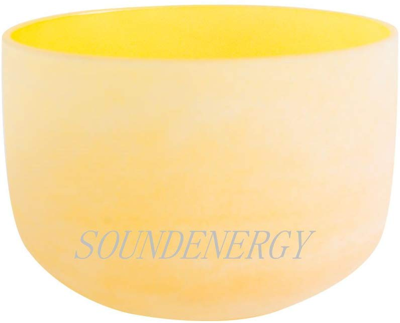 432Hz Perfect Pitch E Note Solar Plexus Chakra Yellow Frosted Quartz Crystal Singing Bowl