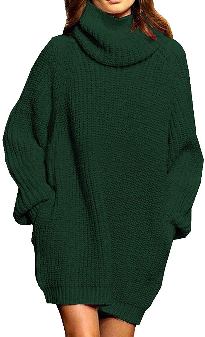 Women's Loose Oversize Turtleneck Wool Long Pullover Sweater Dress