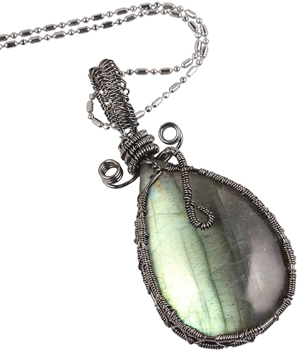 Handmade Wire Natural Labradorite Necklace