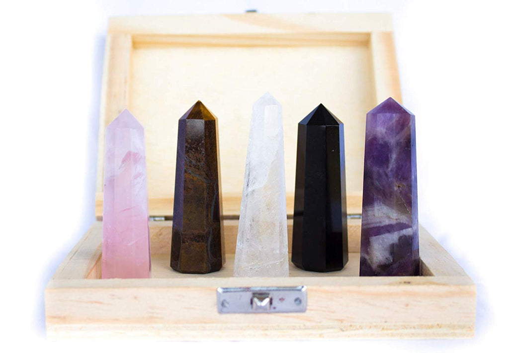 Meditation Collection Set of 5 Five Crystal Wands Sticks for Meditation, Relaxation and Health Benefits
