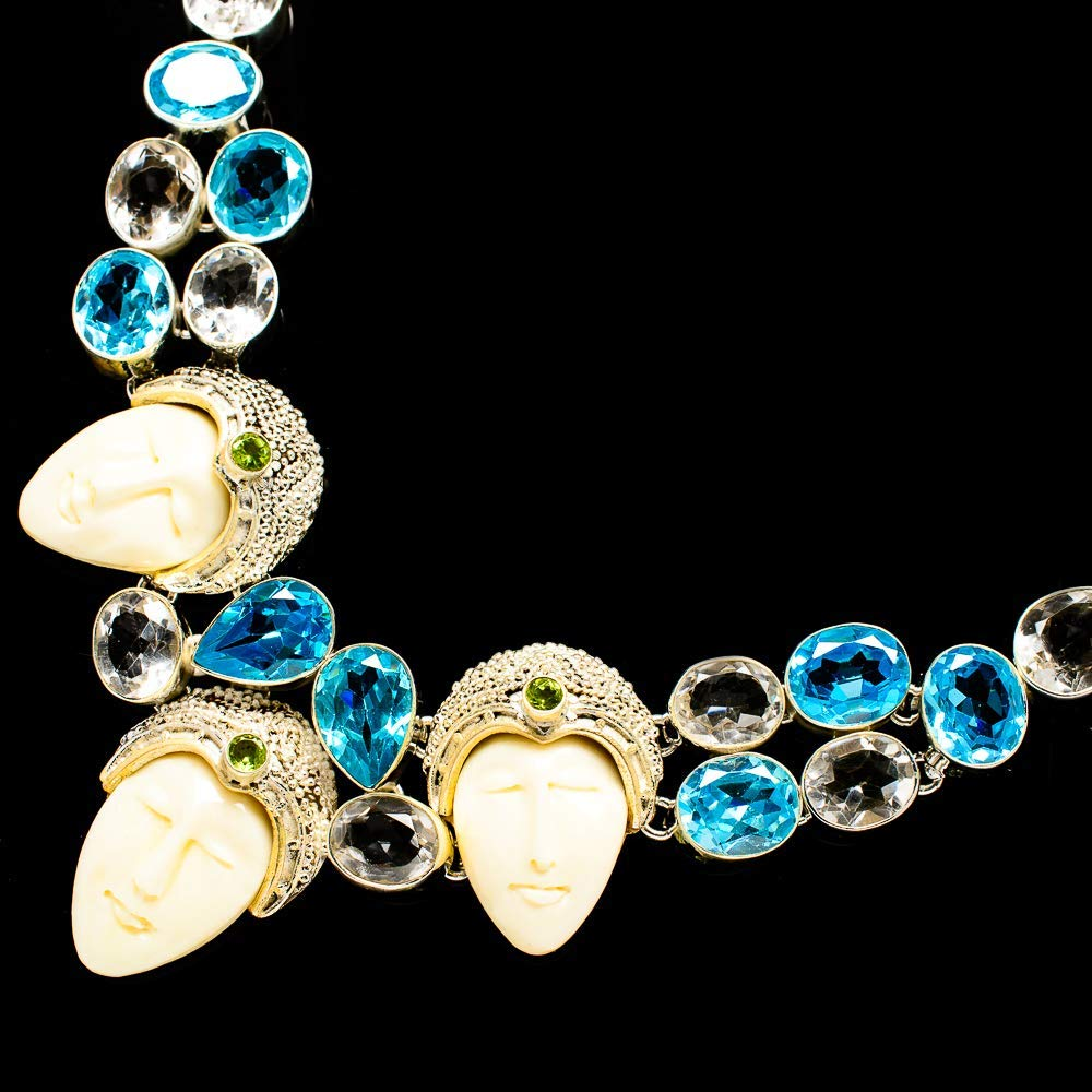 "Ana Silver Co Carved Bone Face, White Quartz, Blue Topaz, Peridot Necklace 18"" (925 Sterling Silver) - Handmade Jewelry, Bohemian, Vintage NEC11870"
