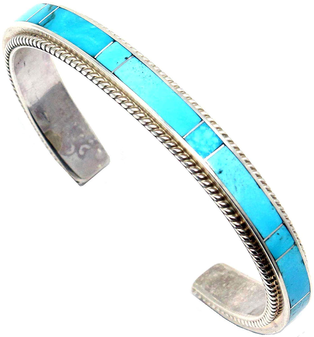 "Zuni Turquoise Channel iInlay & Silver Bracelet by Booqua | 5.5"" Tip to Tip (Will fit a wrist circumference of up to 6.75""- non-adjustable)"
