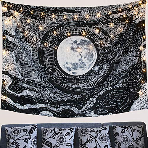 Moon and Star Tapestry Wall Hanging Tapestries Black & White Wall Blanket Wall Art for Living Room Bedroom Home Decor (Black.)