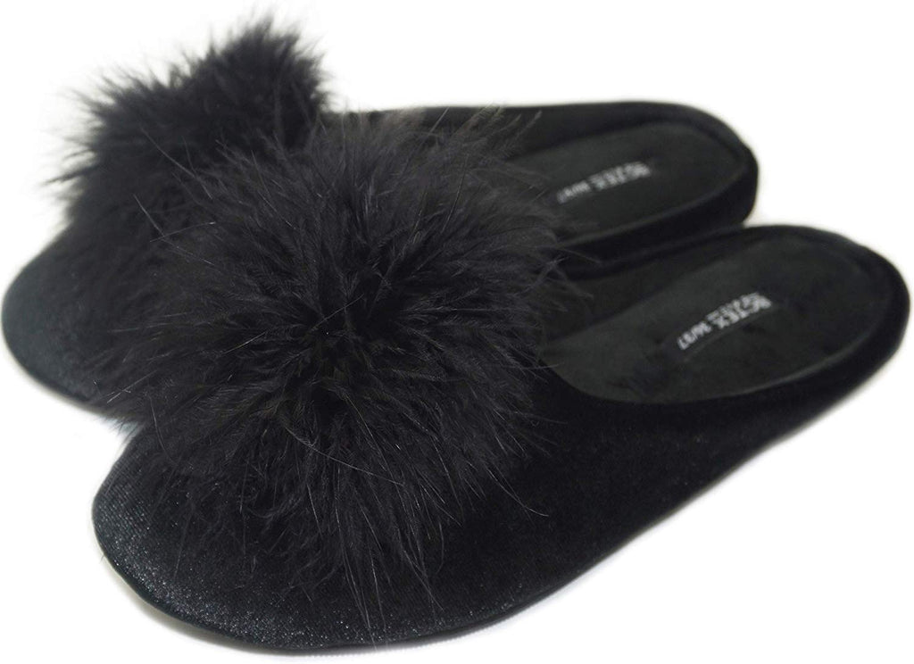 Lady's Cozy Velvet Slippers with Fluffy Pom Pom