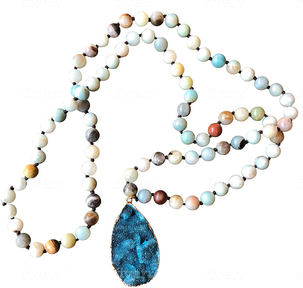 Natural Amazonite & Druzy Stone Long Beaded Necklace with Gold Moroccan Arabesque Charm