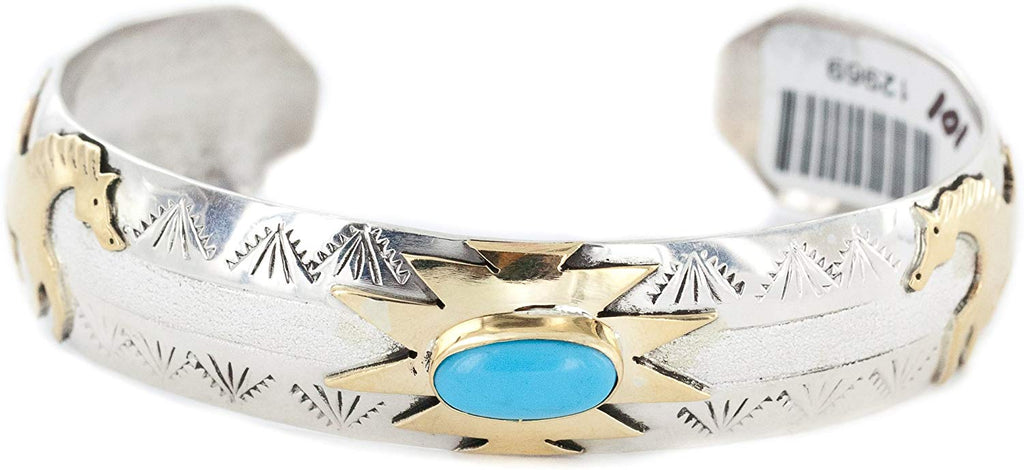 12ktGF Over Silver Certified Horse Navajo Turquoise Native Bracelet 12969-101 Made by Loma Siiva