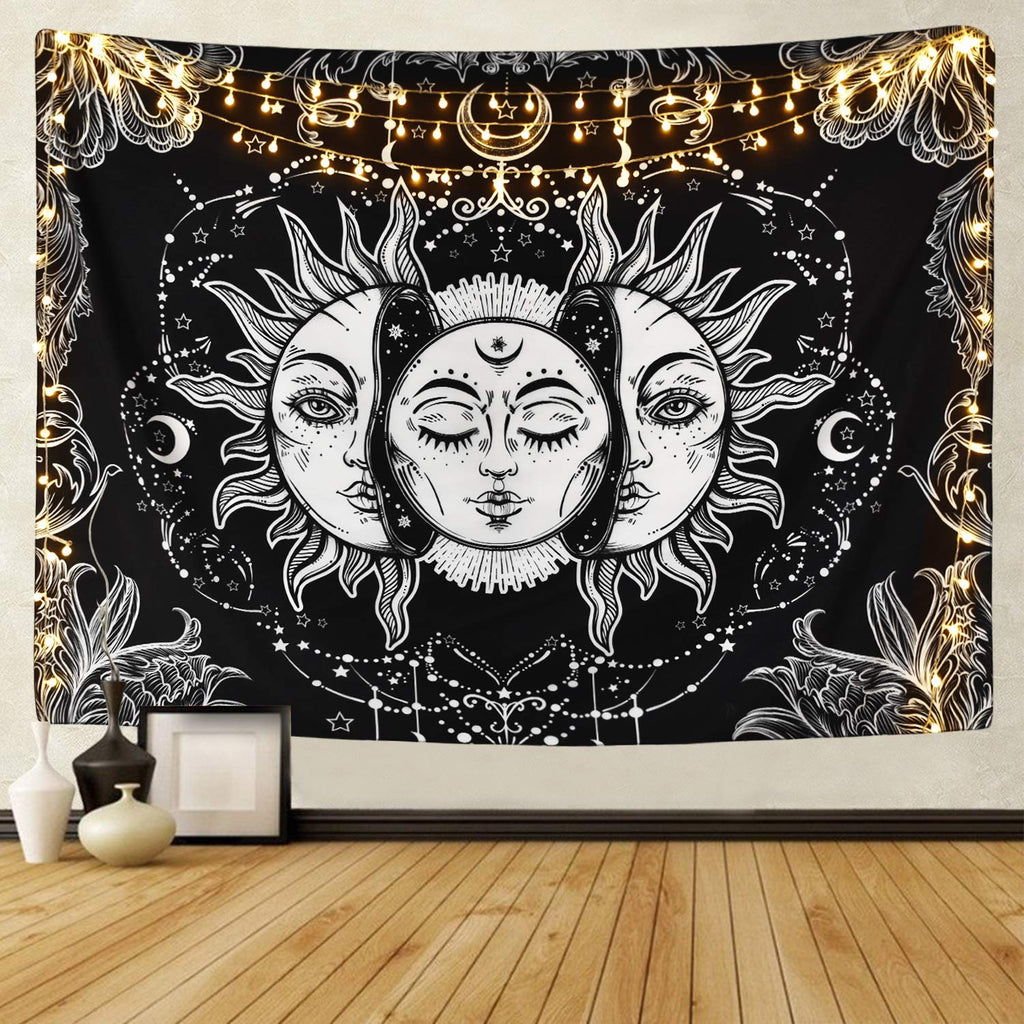 Sun and Moon Tapestry Burning Sun with Star Tapestry Psychedelic Tapestry Black and White Mystic Tapestry Wall Hanging