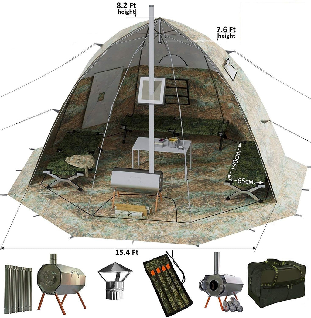 Winter Tent with Wood Stove Pipe Vent