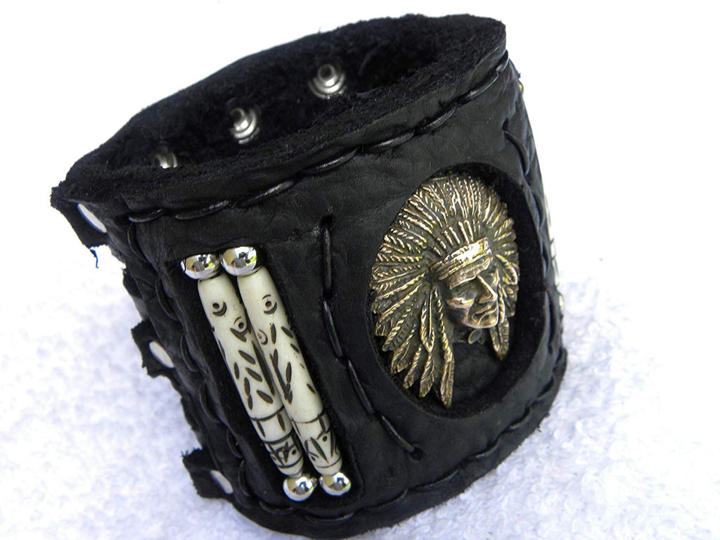 Indian Chief Head Cuff  Buffalo Bison Leather