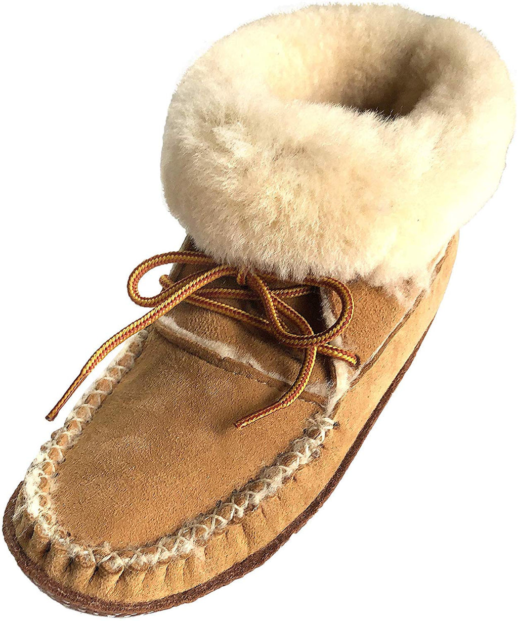Women's Sheepskin Ankle Moccasin Slipper Boots