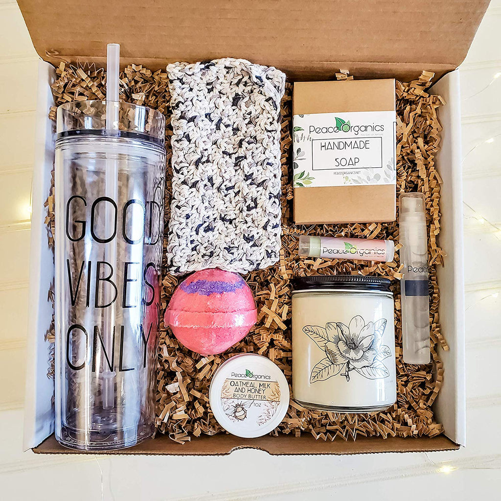 Good Vibes Only Deluxe Spa Gift Box Set with Tumbler and soy Candle