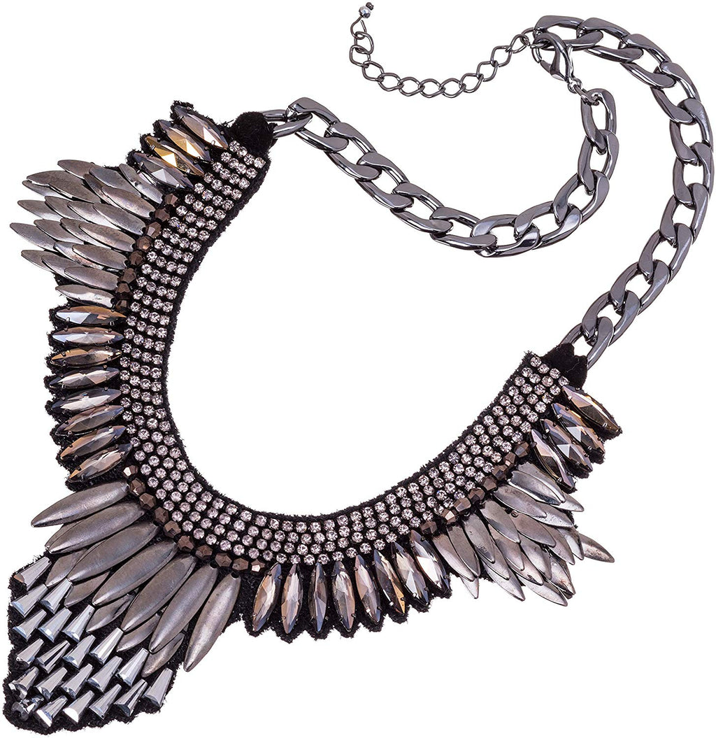 Statement Rhinestone Necklace-15 L Black