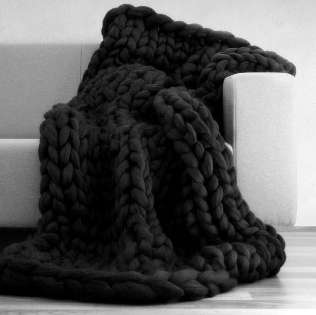 Hand Woven Wool & Acrylic Chunky Knit Blanket