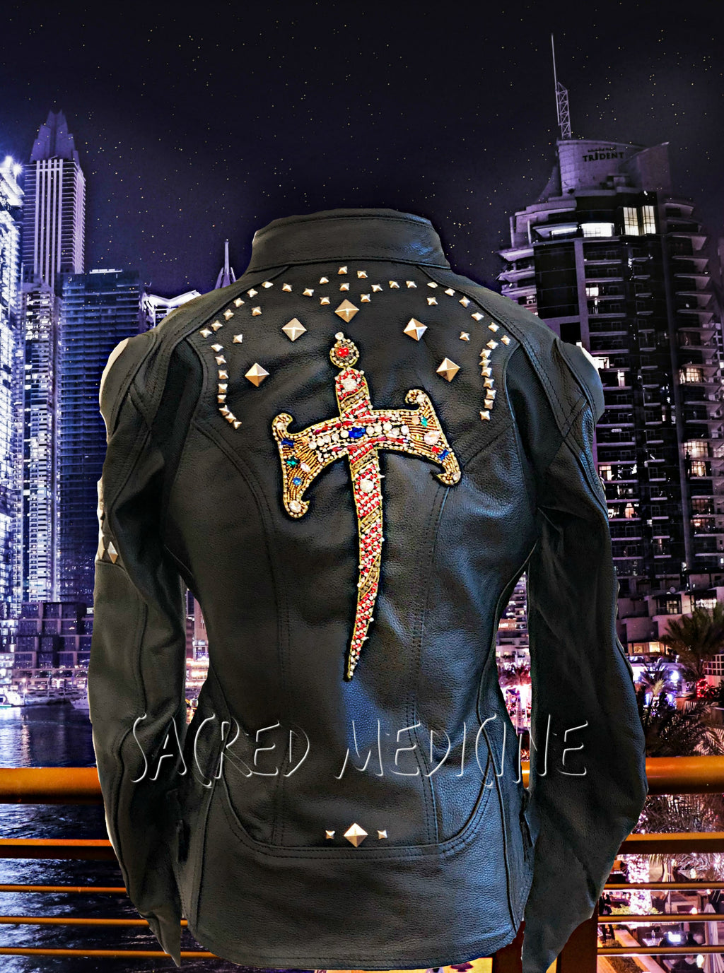 """Queen Hekate"" Leather Certified Armor Motorcycle Chic Jacket"