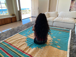 Giant Teal Healing Anxiety Weighted Hand-Crafted Blanket with Crystal-Pocket by Designer Oriah Mirza