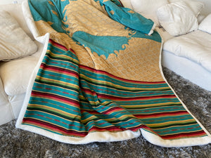 Teal Ceremonial Crystal-Pocket Healing Magical Hand-Crafted Blanket by Designer Oriah Mirza