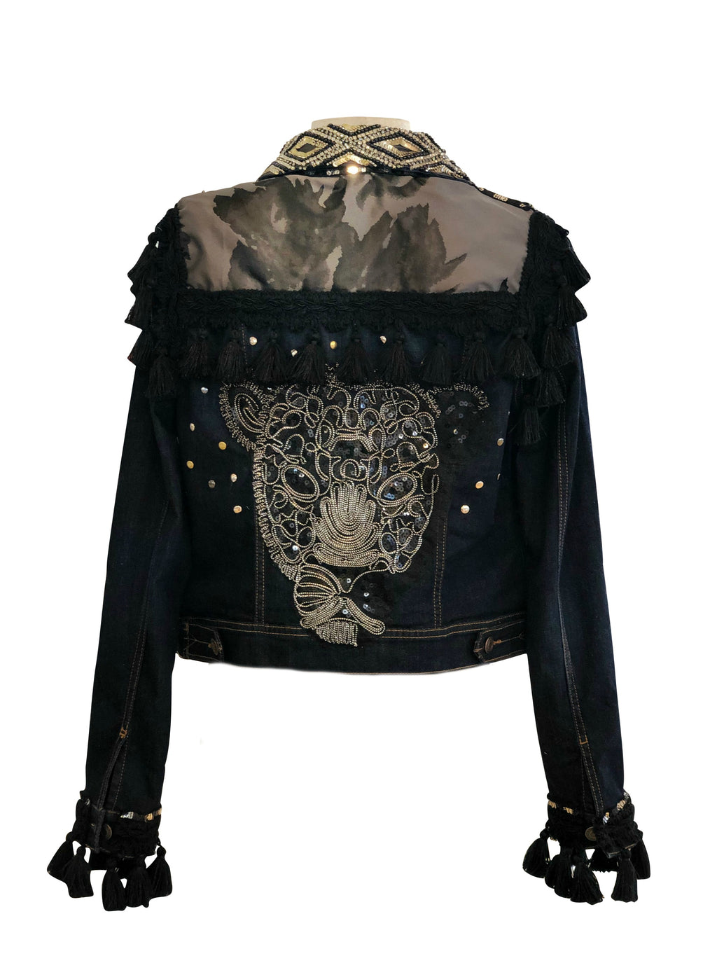 "Boho Chic Denim ""Spirit Panther"" Jacket"
