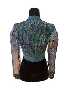 Mermaid Dream, Metallic Green Organza Cropped Bomber Jacket