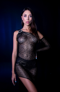 Gold Metallic Bronze Mesh Dress