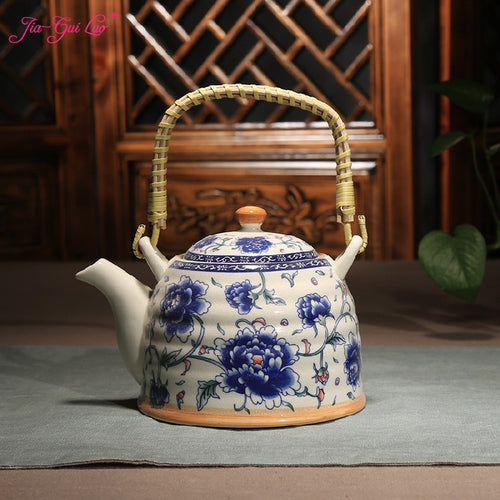 Bamboo Handle Ceramic Teapot