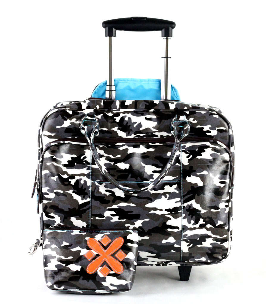 Kristen Wheeled Laptop Bag + Portable Charger (Grey Camouflage)