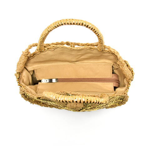 CABANES CROSSBODY TAN/GOLD