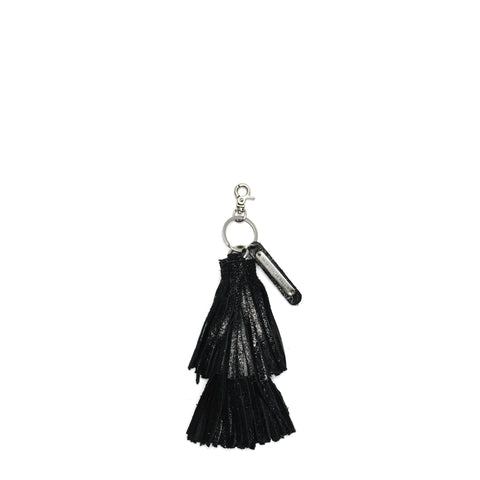 Cava Double Tassel Key Fob Black
