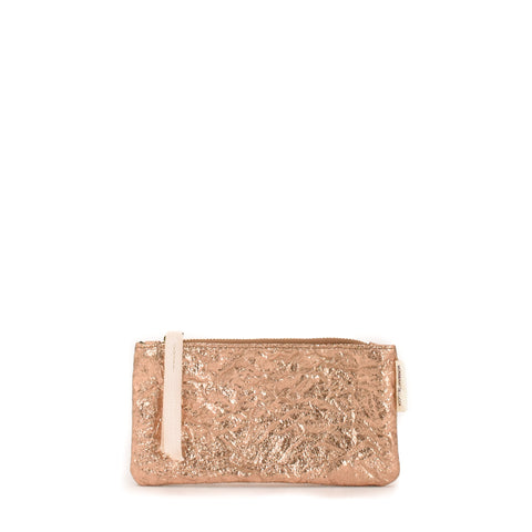 Cha Cha Metallic Flat Pouch Rose Gold
