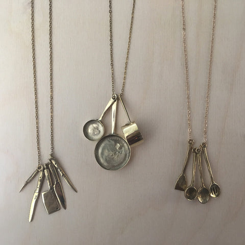 Brass Chef's Knives Necklace