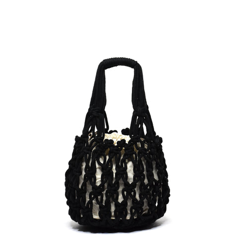 Miel Knotted Bucket Bag Black