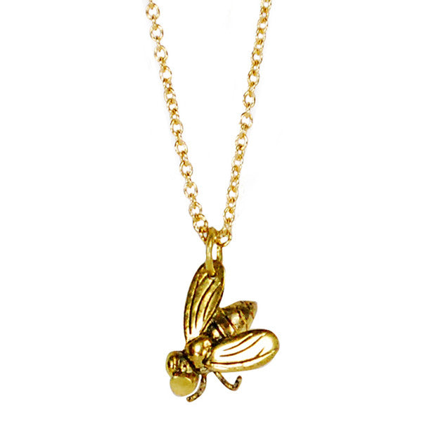 Single Fly Brass Necklace