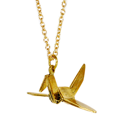 Single Small Paper Crane Brass Necklace