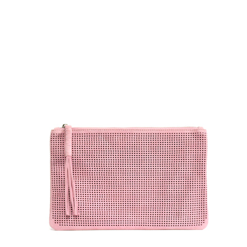 Orado Perforated Suede Pouch Large Blush