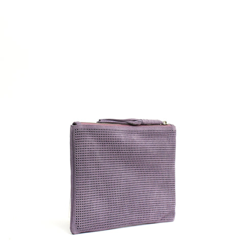 Orado Perforated Suede Pouch Large Lavender