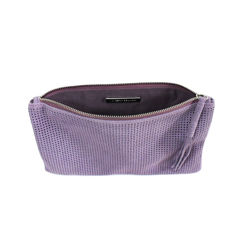 Orado Perforated Suede Pouch Small Lavender