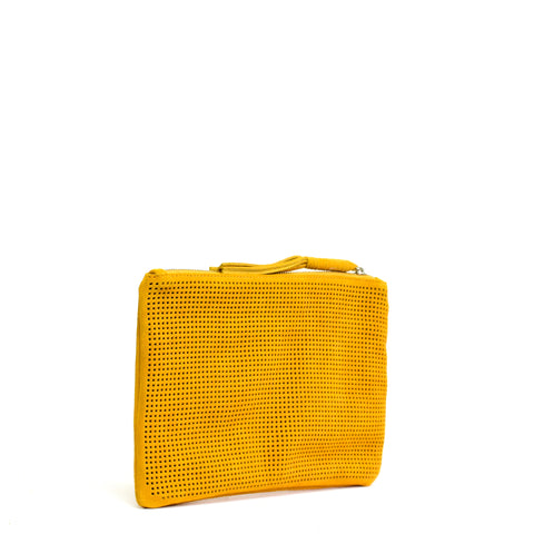 Orado Perforated Suede Pouch Large Marigold