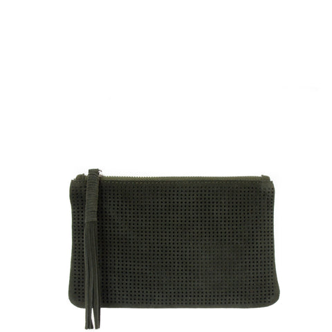 Orado Perforated Suede Pouch Large Olive