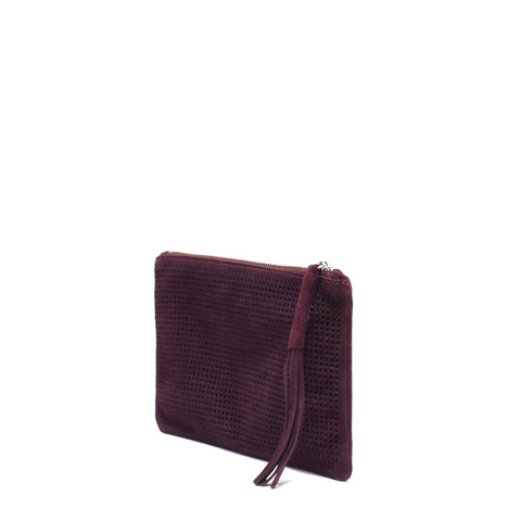 Orado Perforated Suede Pouch Large Wine