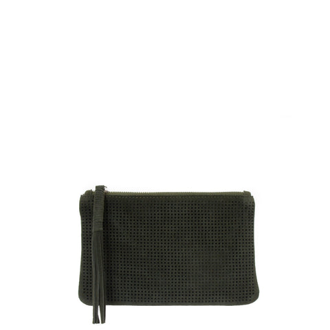 Orado Perforated Suede Pouch Small Olive