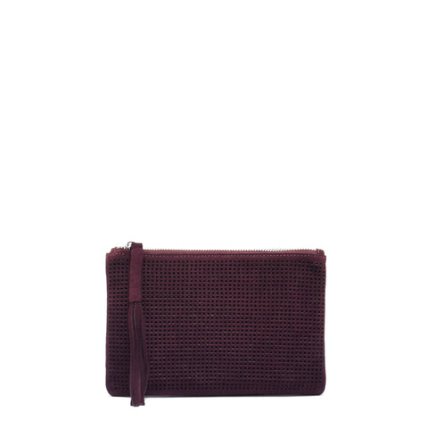 Orado Perforated Suede Pouch Small Wine