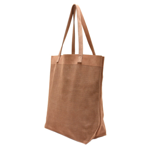 Orado Perforated Suede Tote Tan
