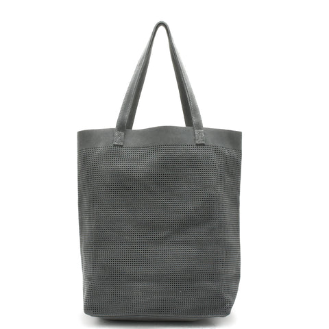 Orado Perforated Suede Tote Grey