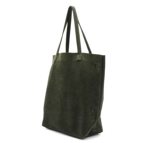 Orado Perforated Suede Tote Olive