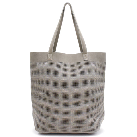 Orado Perforated Suede Tote Taupe